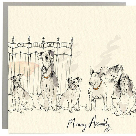 Morning Assembly Doggy Greeting Card