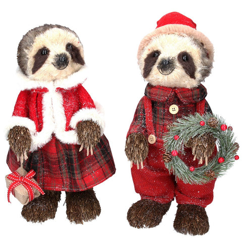 Mr & Mrs Bristle Dressed Standing Christmas Sloths