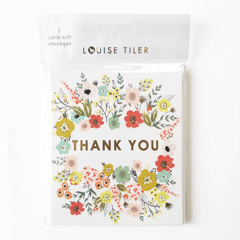Pack of 5 Gold Thank You Cards