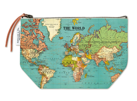 World Map Print Zip Pouch