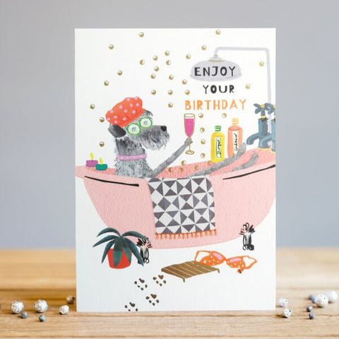 Enjoy Your Birthday Doggy Bubble Bath Birthday Card