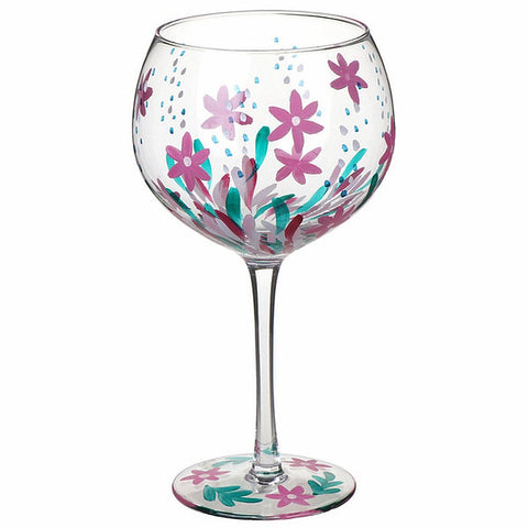 Pink Meadow Hand Painted Gin Glass