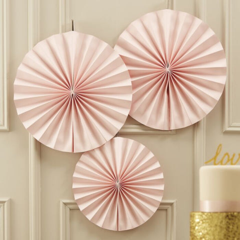 PINK PINWHEEL PAPER FAN DECORATIONS