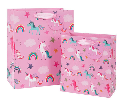 Pink Unicorn Print Gift Bag Large