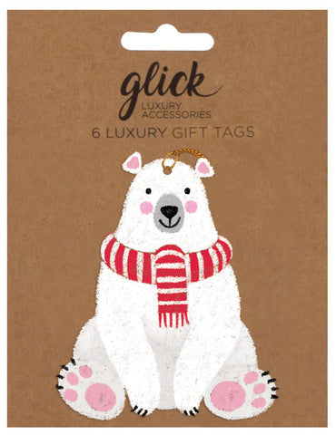 Pack of 6 Luxury Polar Bear Gift Tags