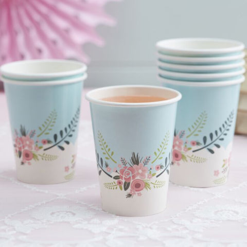 8 PRETTY PAPER CUPS - FLORAL FANCY