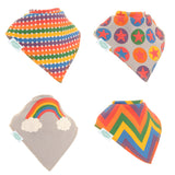 Rainbow Colours Pack of 4 Dribble Bibs