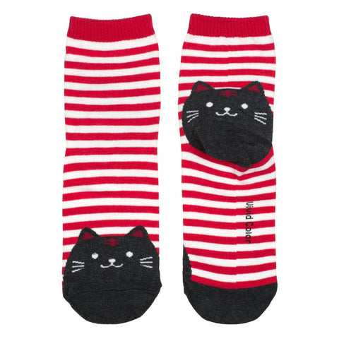 Ladies Cotton Socks Red Stripe Cat Print