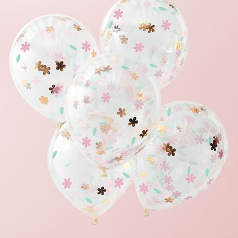 ROSE GOLD FLORAL CONFETTI BALLOONS