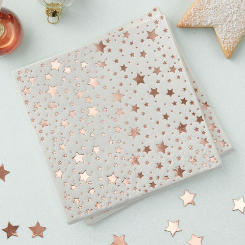 ROSE GOLD FOILED STAR COCKTAIL NAPKINS