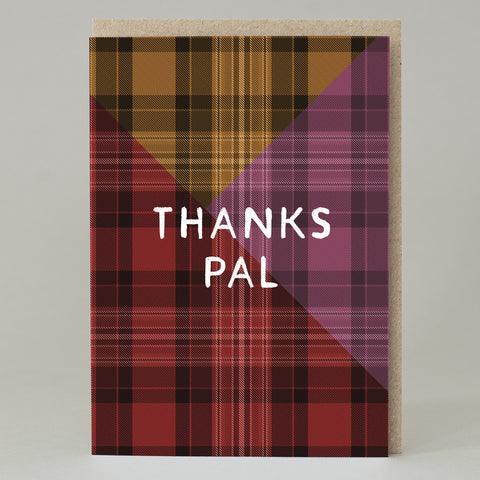Tartan 'Thanks Pal' Card Pink
