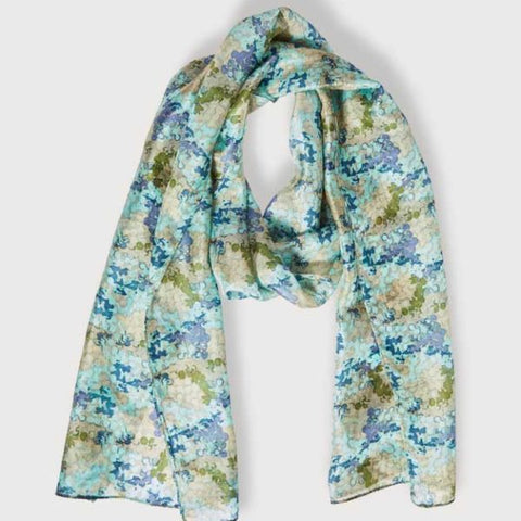 PRINTED SILK SCARF – SHIMMER BLUE