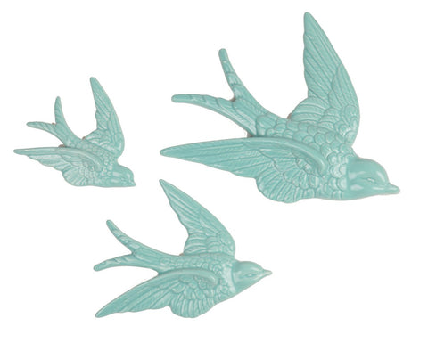 FLYING SWALLOW WALL DECORATIONS DUCK EGG - SET OF 3