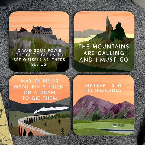 Scottish Landscape Scottish Sayings Coasters Gift Box