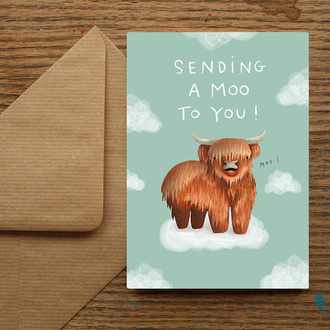 Sending A Moo To You! Highland Coo Card