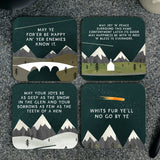 Scottish Mountains Scottish Sayings Coasters Gift Box
