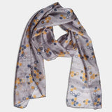 PRINTED SILK SCARF – BEES & HONEY GREY
