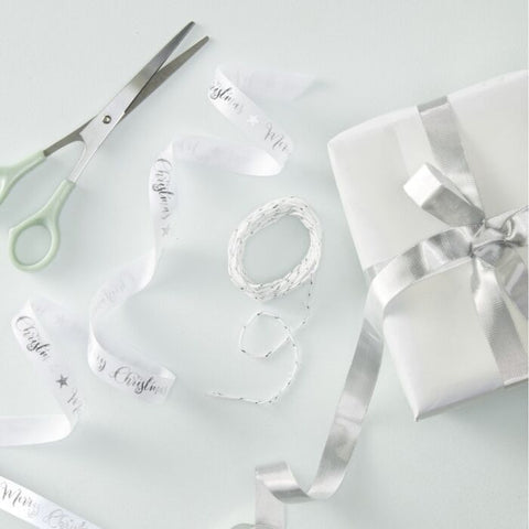 MERRY CHRISTMAS SILVER FOILED RIBBON KIT