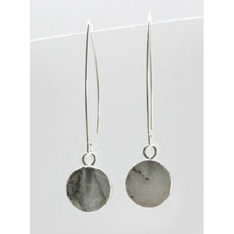 Semi-precious Stone Earrings In Silver Labradorite