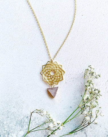 Spiro Rose Quartz Triangle Mandala Necklace