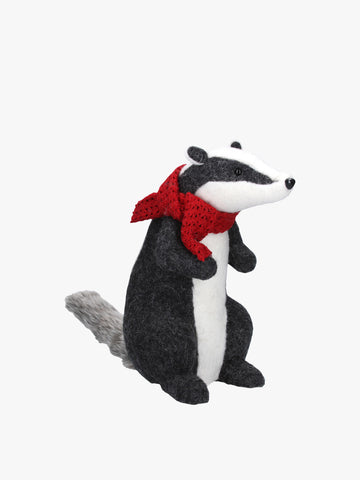 34cm Standing Red Wool Mix Badger With Red Scarf