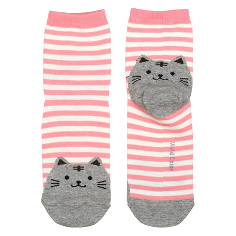 Ladies Cotton Socks Pink Stripy Cat Print