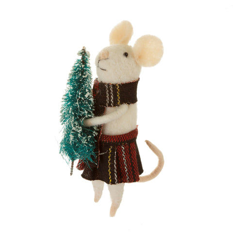 TARTAN MOUSE WITH TREE STANDING FELT DECORATION