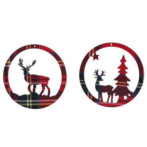 Tartan Fabric Stag Disc Hanging Decorations Assorted