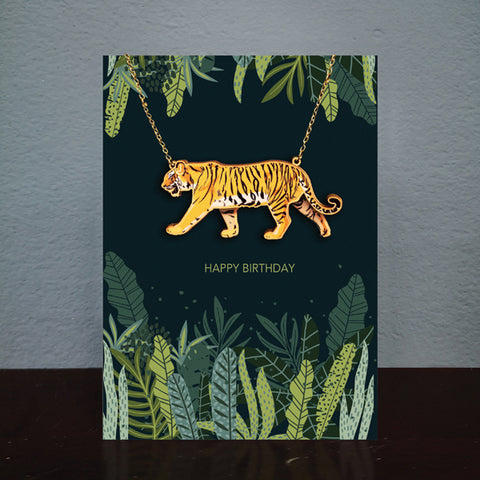 Tiger Birthday Card & Wooden Necklace