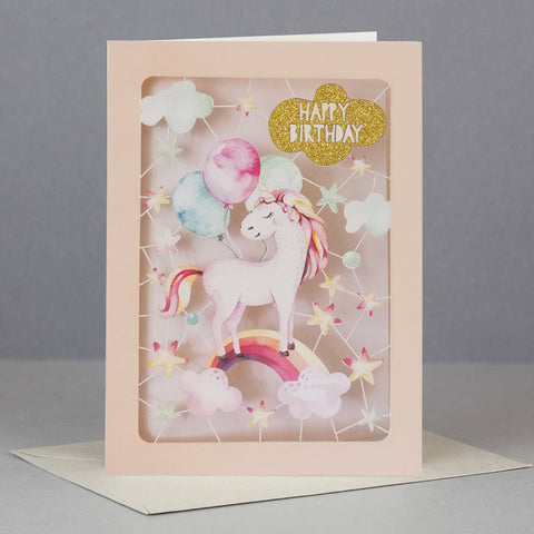 Glitter Unicorn Kids Birthday Card Laser Cut