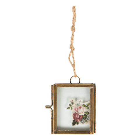 BRASS FINISH MINI HANGING PHOTO FRAME