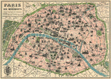 Vintage Style Paris Map Poster
