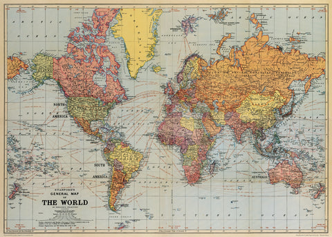 Vintage World Map 2 Print Poster