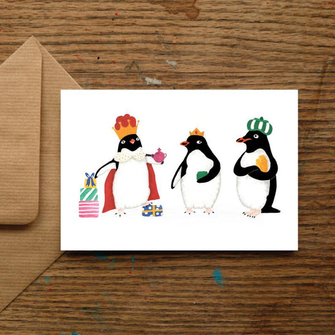 We Three Kings Penguin Christmas Card