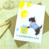 Cute Scotty Dog Birthday Wish Greeting Card