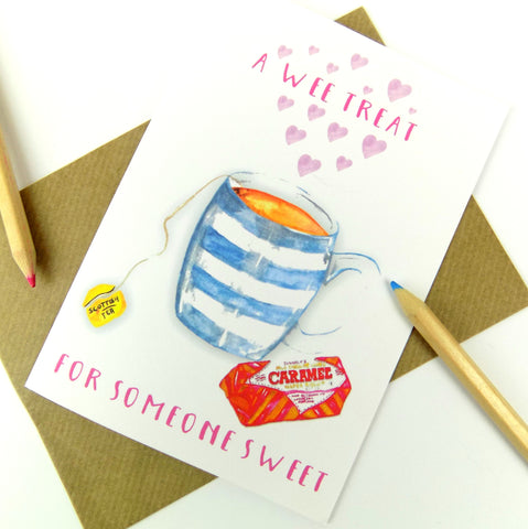 Sweet Treat Tunnocks Wafer & Tea Scottish Greeting Card