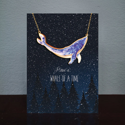 Whale Card & Wooden Necklace