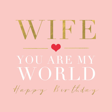 Wife You Are My World Birthday Card