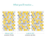 Yellow & Grey Polka Dot Wall Stickers