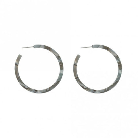Gala Resin Hoop Earrings Grey