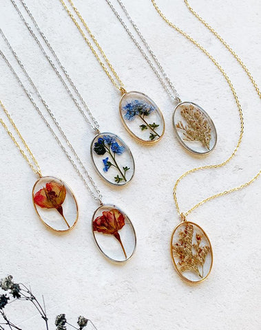 Bud Pressed Dried Wildflower Necklace Assorted
