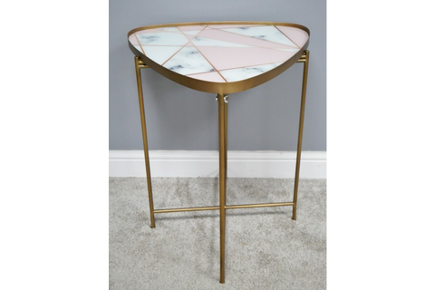 Retro Side Table Pink Geo