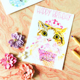 Happy Birthday Ice Cream Cat Postcard