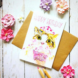 Happy Birthday Ice Cream Cat Card