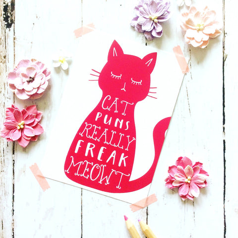 Cat Puns Freak Meowt Postcard