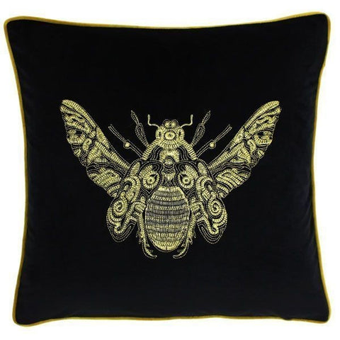 Cerana Black Velvet Fabric Bee Cushion
