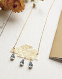 Cirrus Cloud Rain Necklace Gold Plate