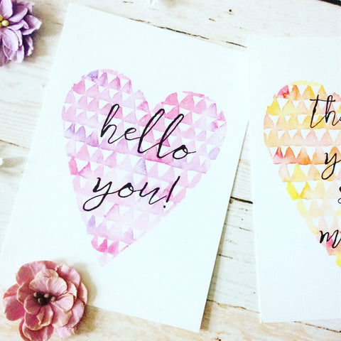 Hello You Heart Print Postcard