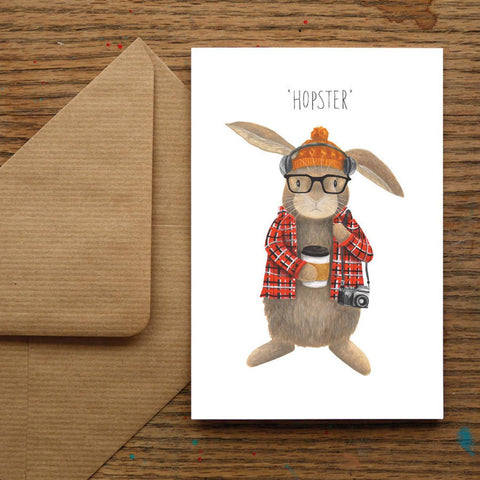 """Hopster"" Funny Blank Greeting Card"