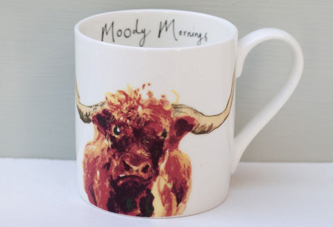 Anna Wright Moody Mornings Highland Cow Mug